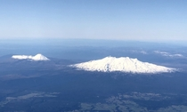 Ngauruhoe left amp Ruapehu right from the sky on a clear spring day