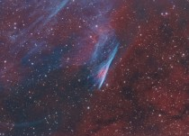 NGC  The Pencil Nebula -- Part of the Vela supernova remnant this interstellar shock wave plows through space at over  kilometers per hour moving left to right