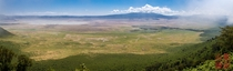 Ngorongoro Crater from the viewpoint  Stitched Pano A natural zoo kmxkm in size