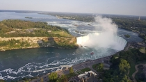 Niagara River and Horseshoe Falls from Skylon Tower in Ontario