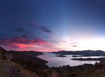 Nice big Pano for you of yesterdays sunrise over Lyttelton Harbour Canterbury New Zealand  - Bonus timelapse in comments