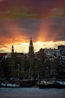 Nice sunset in the hart of Amsterdam