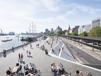 Niederhafen River Promenade in Hamburg that acts as flood protection