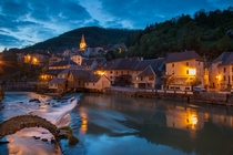 Night falls in Lods one of the most beautiful villages in FranceDoubs Franche Compt France