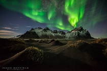 Night Fire over Vestrahorn Iceland  by Jason Hatfield