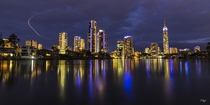 Night fishing at Surfers Paradise Gold Coast Queensland Australia  by Derek Byrne