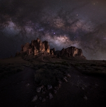 Night hike into Lost Dutchman State Park Arizona