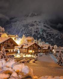 Night in a Swiss village