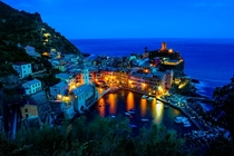 Night Lights in Vernazza Cinque Terre Italy
