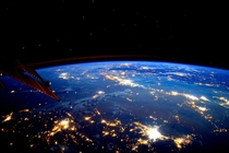 Night pulls its veil over Earth and she shines like the stars From astronaut Scott Kelly
