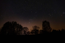 Night Sky and Lightpollution Orion constellation in the centre