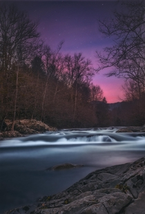 Night sky over the Pigeon River in the Great Smoky Mountains National Park