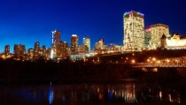 Night skyline of Edmonton Canada