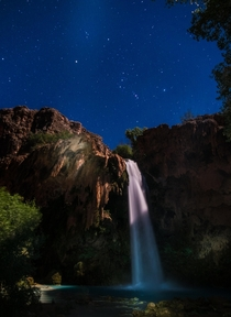 Night Time at Havasu Falls Supai AZ