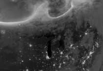 Night time view of Auroras over North America in this October   satellite image NASAEarth Observatory