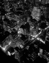 Night view of New York city in  by Berenice Abbott