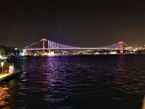 Night view of The famous Bosphorus Bridge in Istanbul Turkeyconnecting Europe and Asia together
