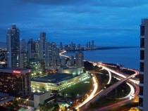 Night view over Panama City