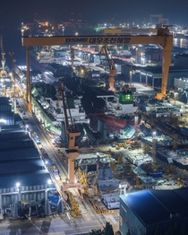 Night work at Daewoo Shipbuilding amp Marine Engineerings Okpo Shipyard Geoje Island South Korea