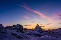 Nightfall at the Matterhorn - Purple mountain majesty in Zermatt Switzerland