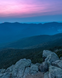 Nightfall on the White Mountains National Forest from Mount Liberty NH