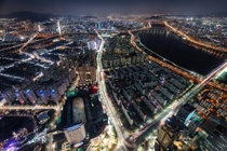 Nightscape down below seen from the Lotte World Tower Seoul South Korea