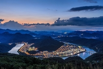 Nightscape of a little town in the mountainous region of Danyang South Korea