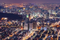 Nightscape of Seoul South Korea seen from Mt Guryong
