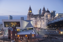 Nighttime cityscape of Liverpool England