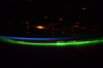 Nighttime Earth and Aurora captured by ESA astronaut Samantha Cristoforetti