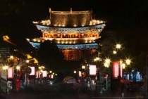 Nighttime in ancient Dali China