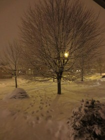 Nighttime outside my house after a snowstorm