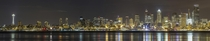 Nighttime panorama of downtown Seattle from the West Seattle waterfront