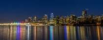 Nighttime skyline of Vancouver British Columbia