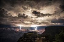 Nighttime thunderstorm over the Grand Canyon