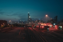 Nighttime Trainyard Chicago