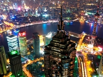 Nighttime view from the th-floor observatory of the Shanghai World Financial Center