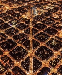 Nighttime view of Barcelona Spain