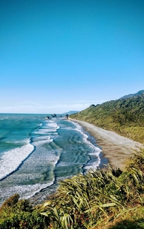 Nine mile beach north of Rapahoe on the West coast of the South Island of New Zealand  not a single soul out on the whole stretch of beach or in the surf nothing but nature