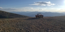 Nissan pickup somehow abandoned near the trail between Mount Bross ft and Mount Lincoln ft Alma CO