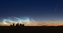 Noctilucent Clouds and Comet NEOWISE over Stonehenge