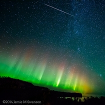 North of Silver Bay Minnesota USA Auroras and Meteor    Photographed by Jamie M Swanson