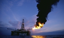 North Sea Oil Rig Flaring Gas