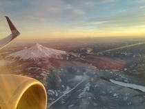 North West view of Mt Hood from the air