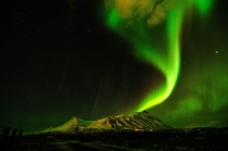 Northern lights above Akrafjall in Iceland