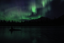 Northern lights in my hometown Canmore Alberta oc