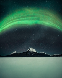 Northern Lights over a mountain Canada