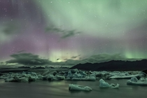 Northern lights over glacial lagoon in Jkulsrln Iceland