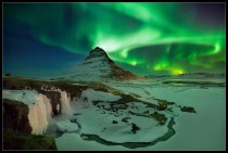 Northern lights over Kirkjufell Iceland