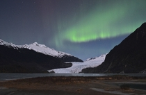 Northern lights over Mendenhall Glacier Juneau Alaska